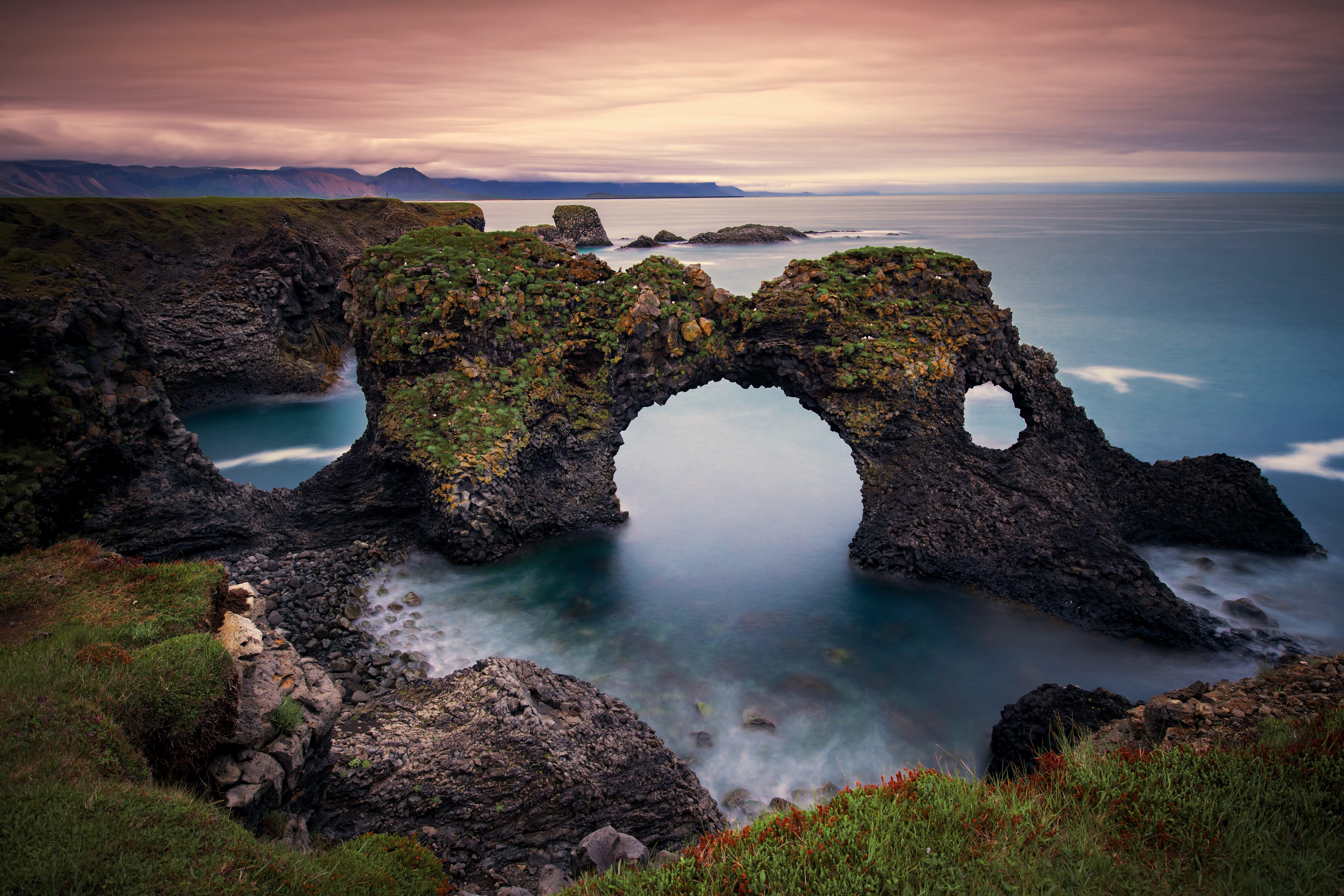 Gatklettur arch rock near Hellnar, Snaefellsnes Peninsula, Iceland.