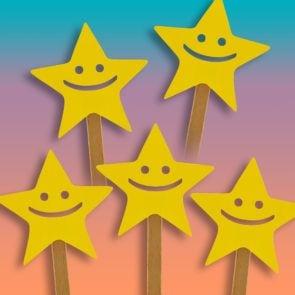 Happy faces on sticks