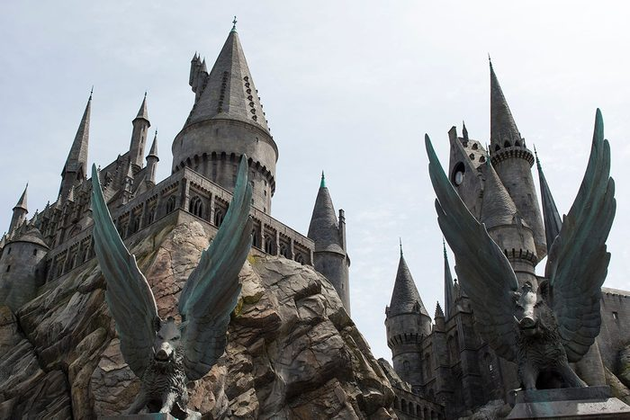 An exterior view of Hogwarts is seen during the 'Wizarding World of Harry Potter Opening' press preview at Universal Studios Hollywood in Studio City, California, on April 6, 2016. / AFP / VALERIE MACON (Photo credit should read VALERIE MACON/AFP via Getty Images)