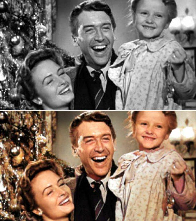 colorized It's A Wonderful Life movie still