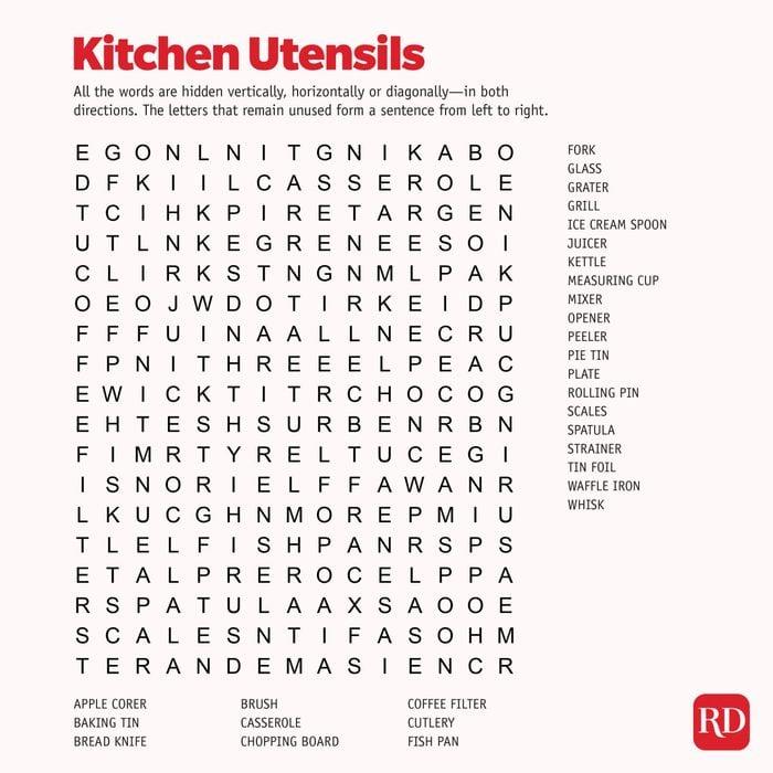 Kitchen utensils Word search