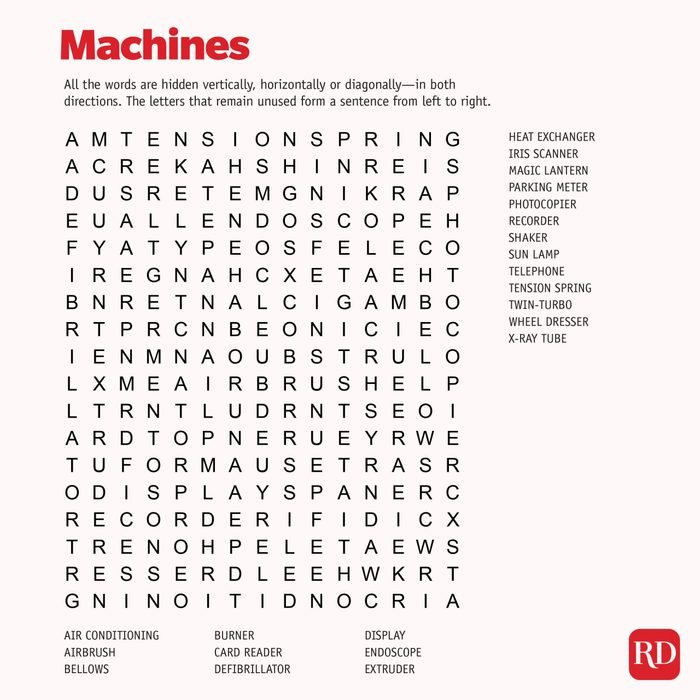 Machines Word search