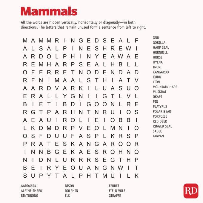 Mammals Word search