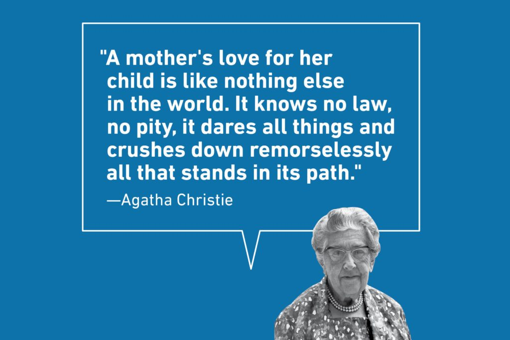 Mother's Day quote on blue background