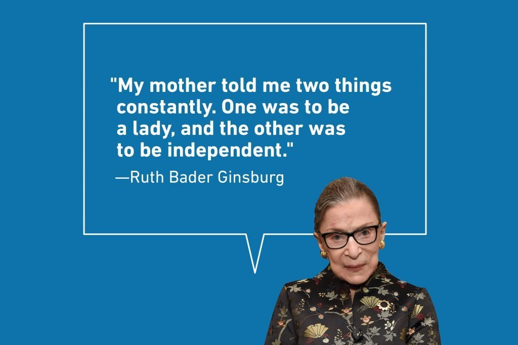 Ruth Bader Ginsburg quote on blue background