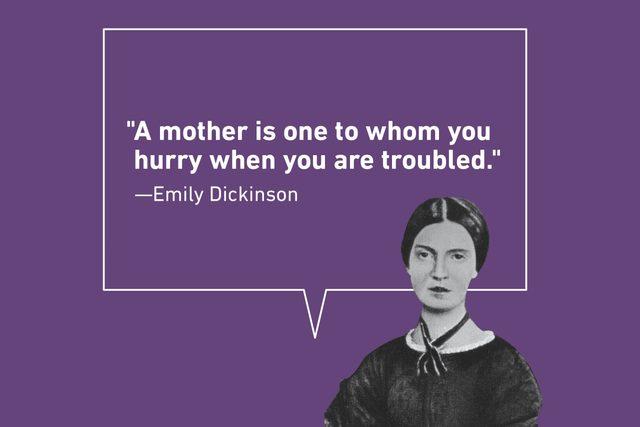 Emily Dickinson quote on purple background