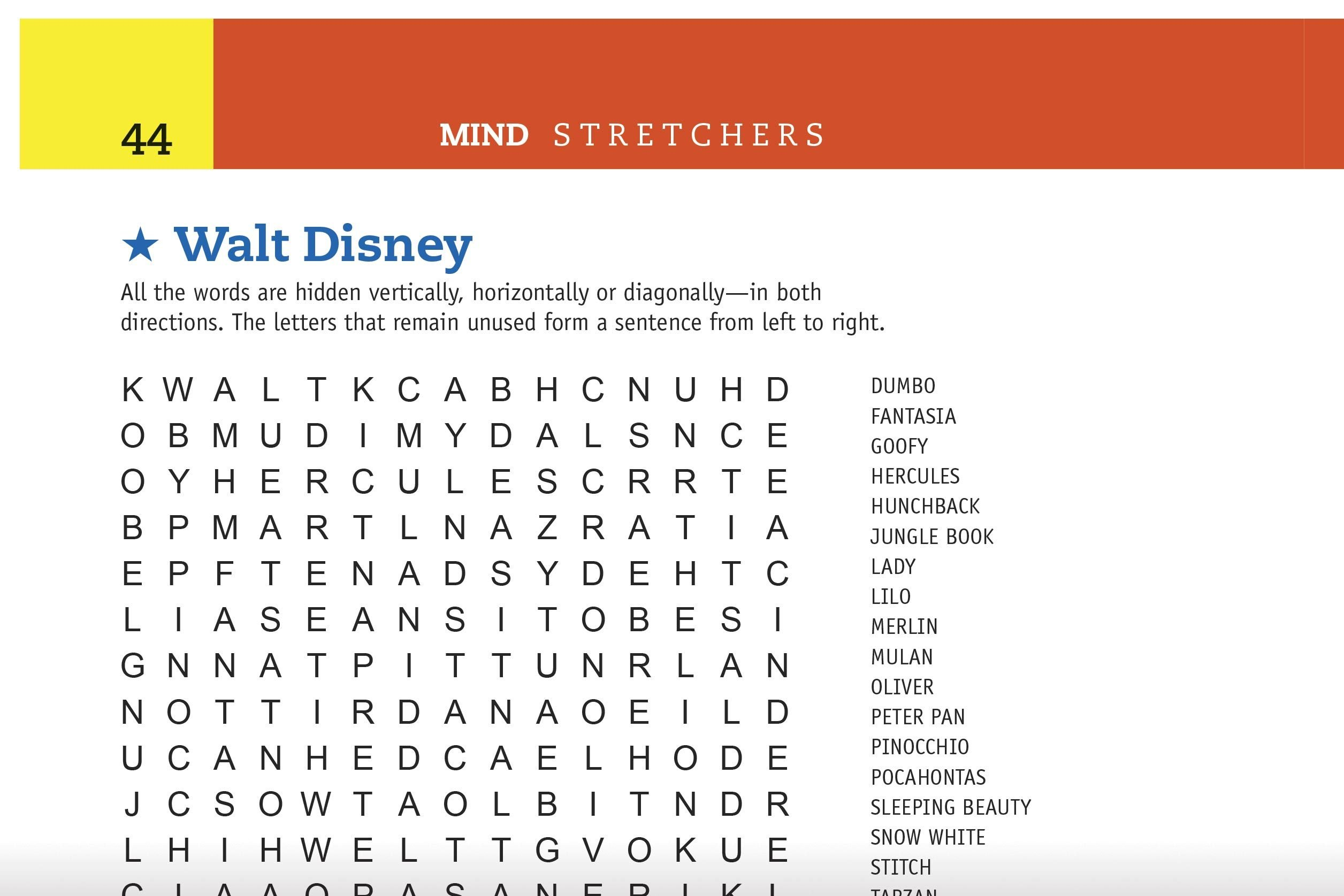 walt disney word search preview