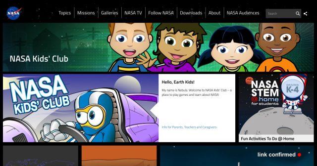nasa kids club homepage