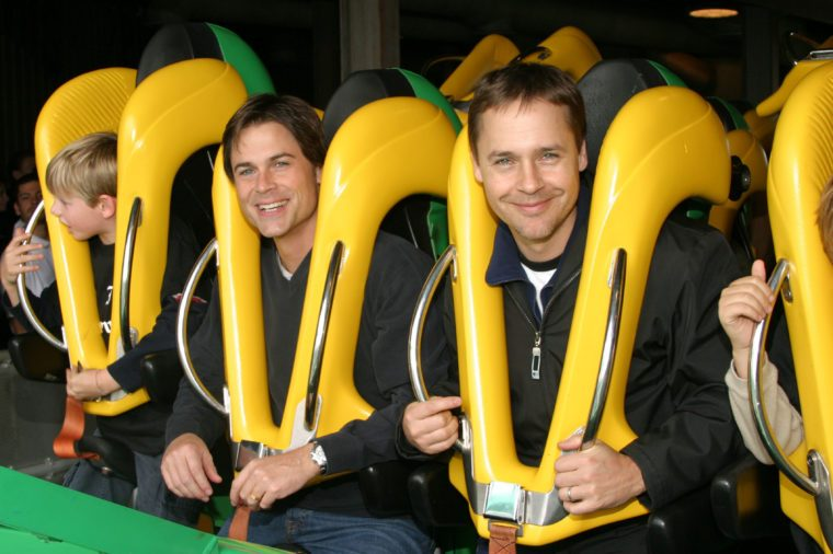 """Rob and Chad Lowe ride """"Riddler,"""" at Six Flags Magic Mountain"""