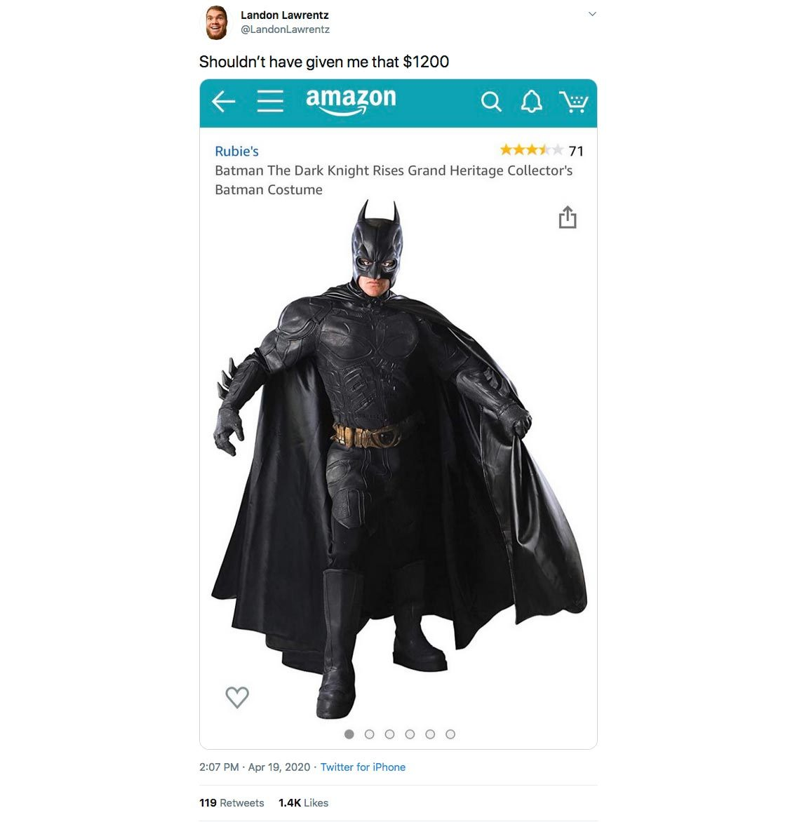 stimulus check batman costume