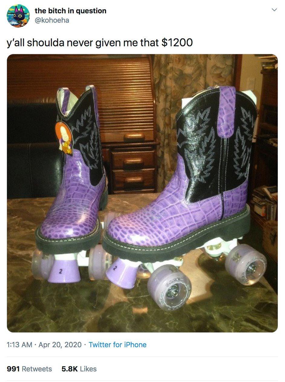 stimulus check outrageous cowboy boots roller skates