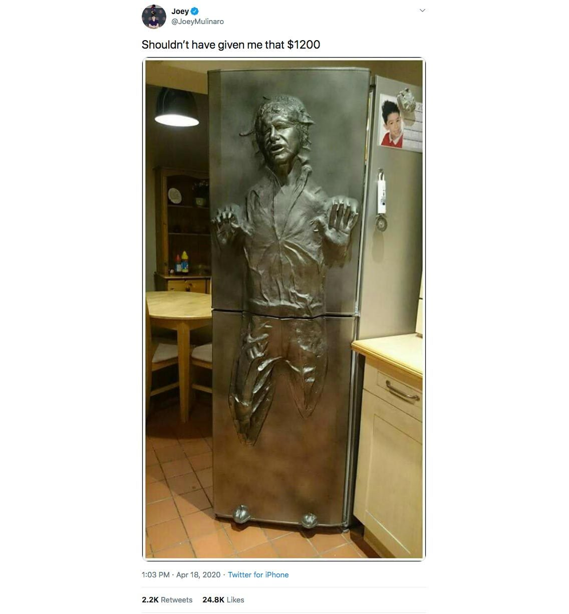 stimulus check han solo star wars fridge