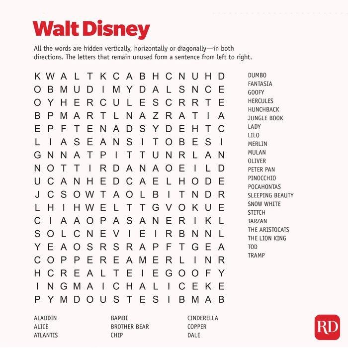 Waltdisney Word search
