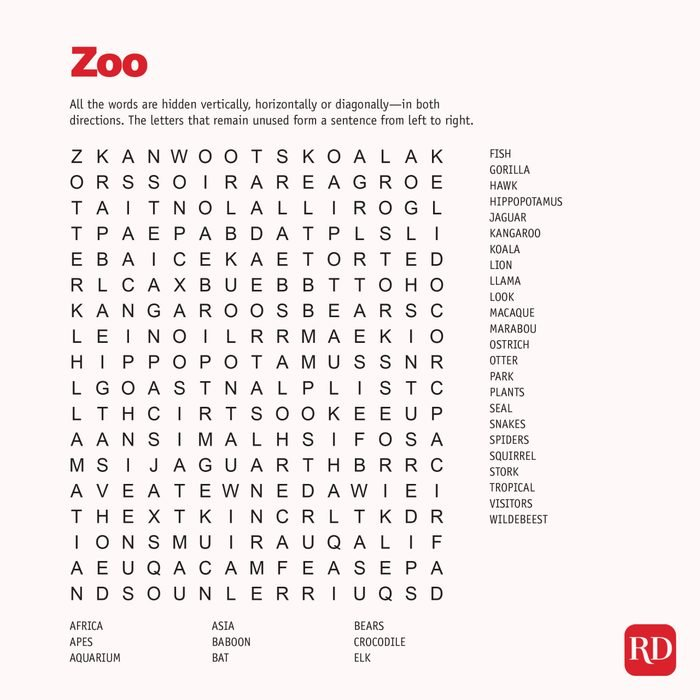 Zoo Word search