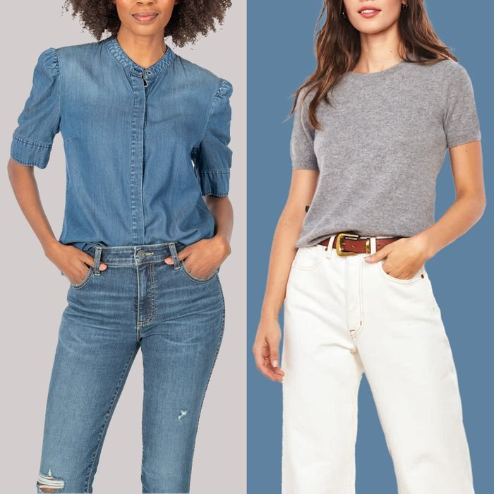 Two shirts, one denim and one gray, on models