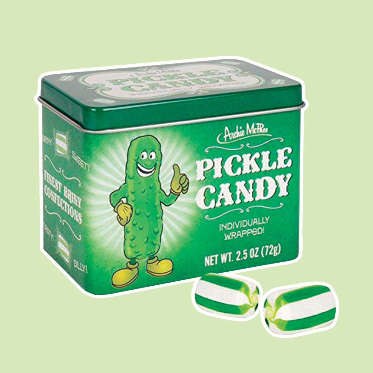 Archie McPhee Pickle Candy in Tin