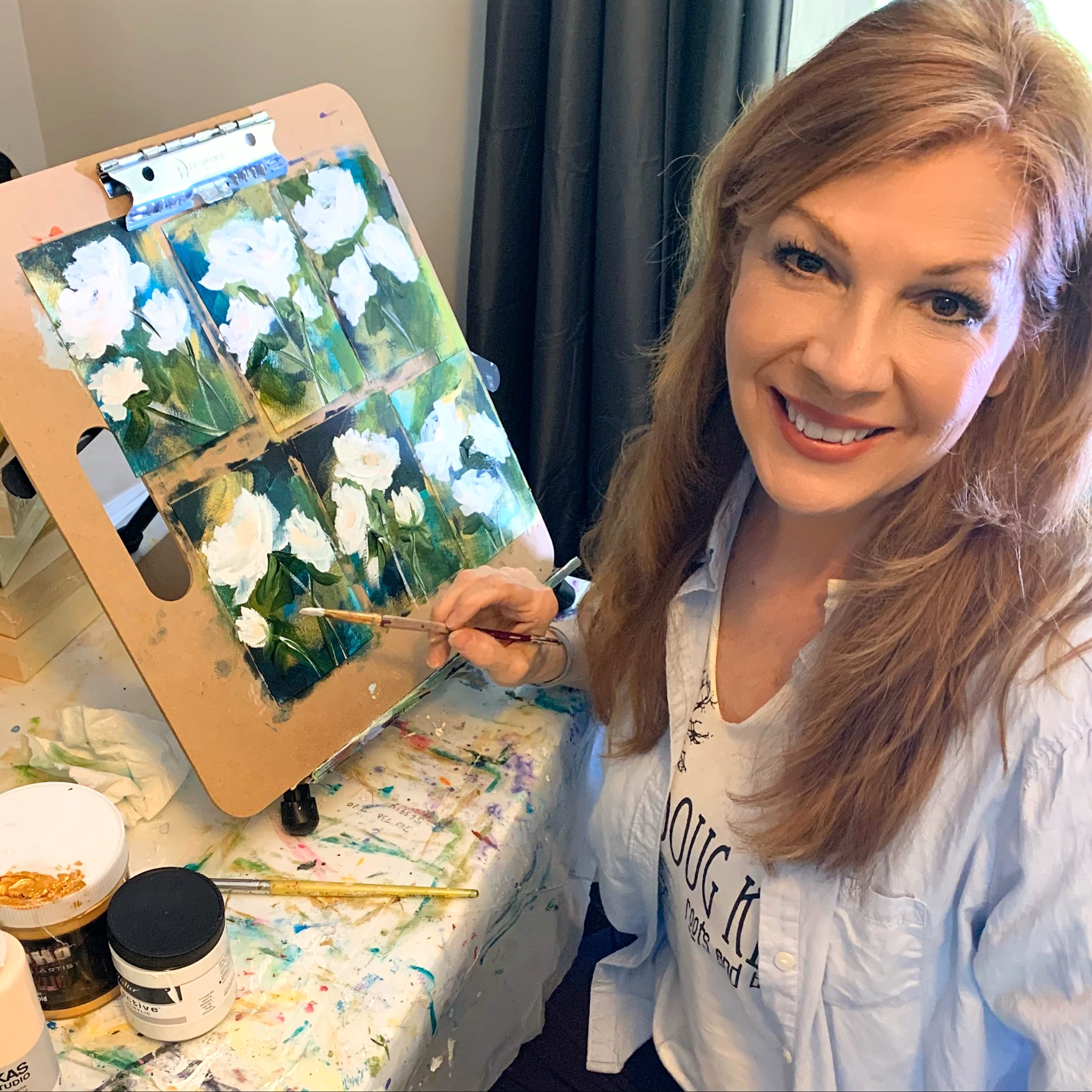 Artist paints roses for others