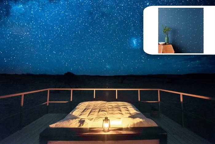 starry sky over a bed with shopping recommendation