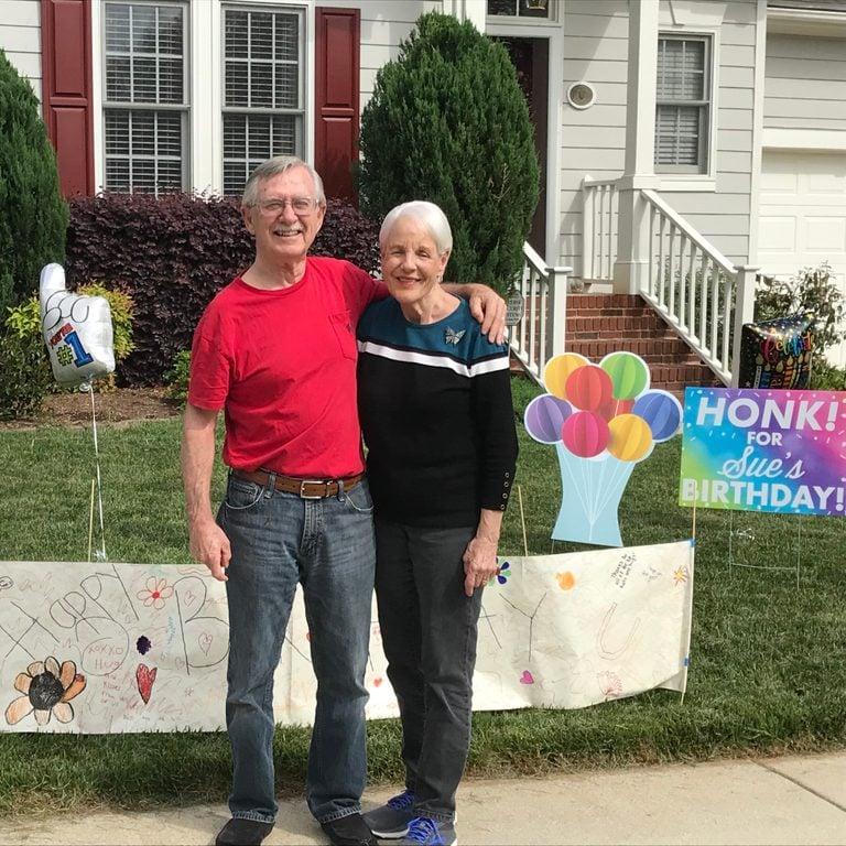 Celebrating the neighborhood grandma's birthday