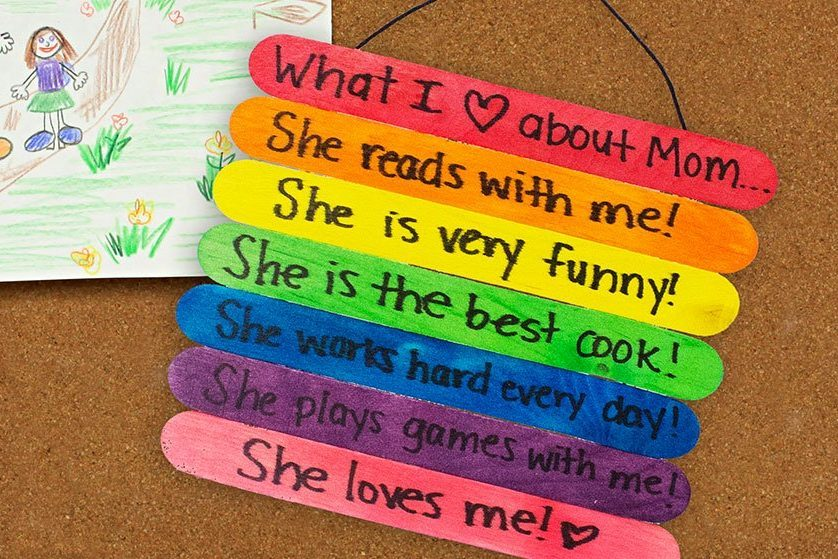 craft stick mothers day sign craft project idea
