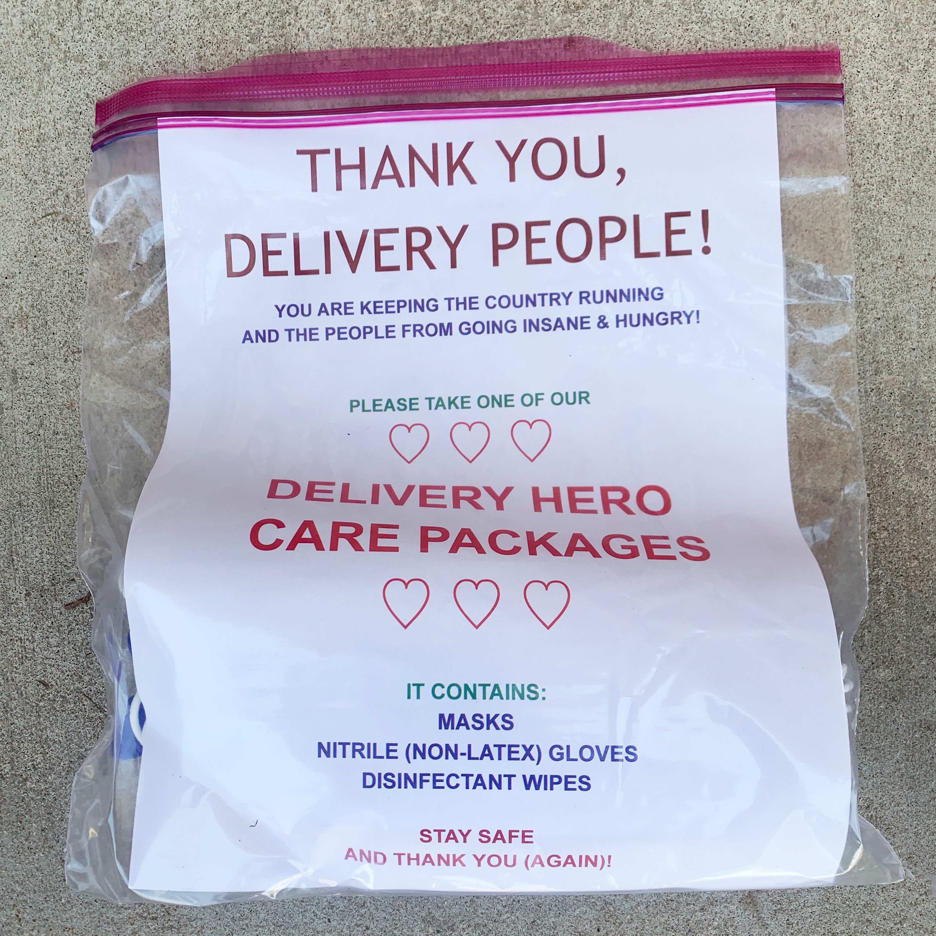 delivery hero care package