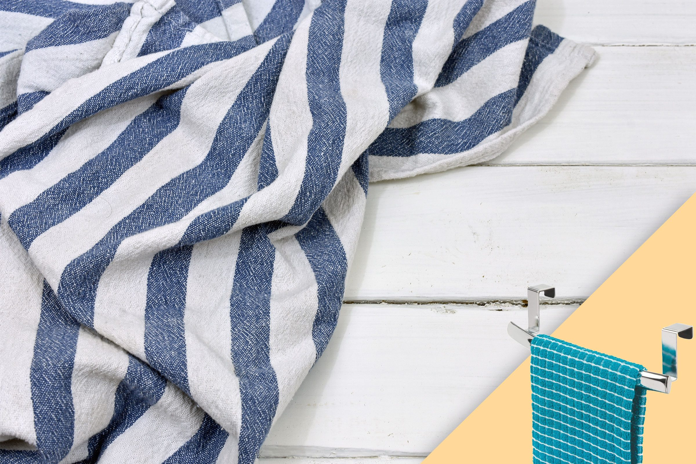 dish towel strewn on white wood background; with suggested product