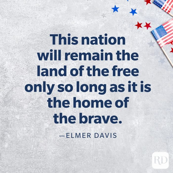 """""""This nation will remain the land of the free only so long as it is the home of the brave.""""—Elmer Davis"""