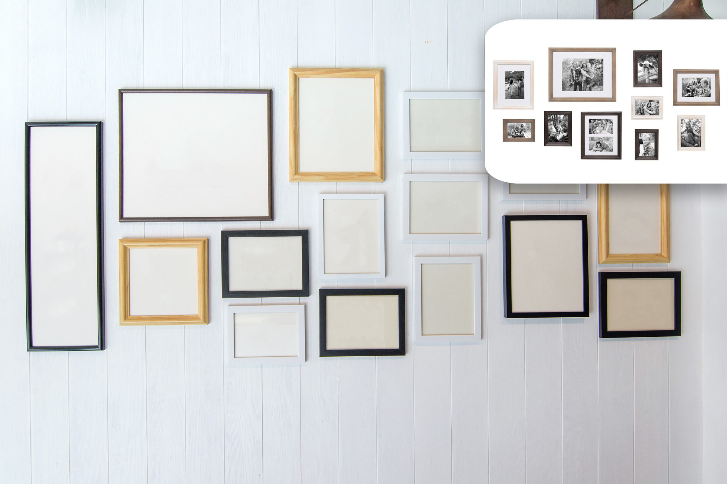 gallery wall with shopping suggestion