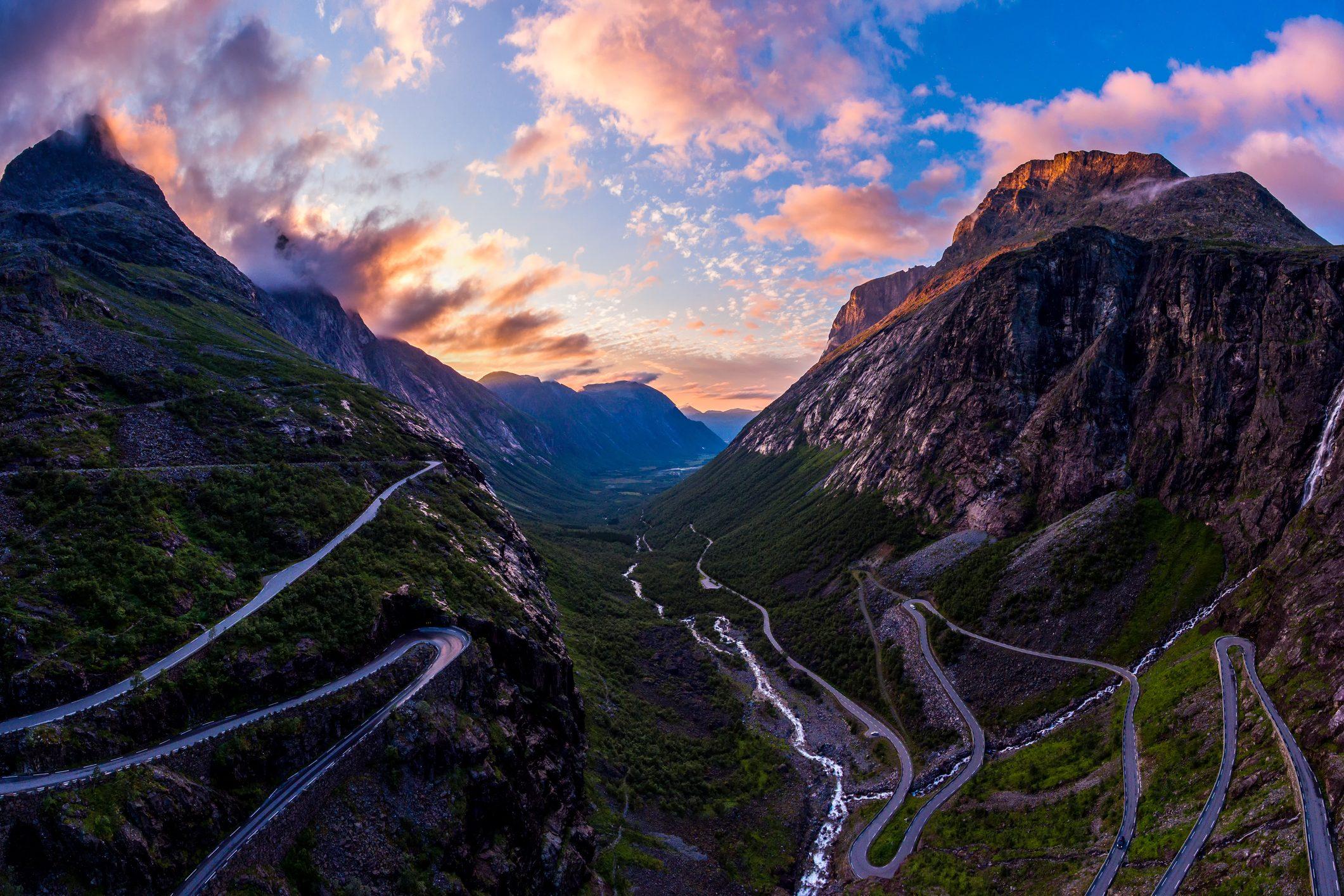 Trollstigen (Trolls path) in sunset