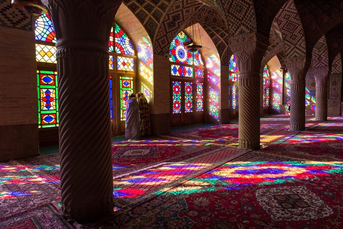 Morning light in Pink Mosque in Iran