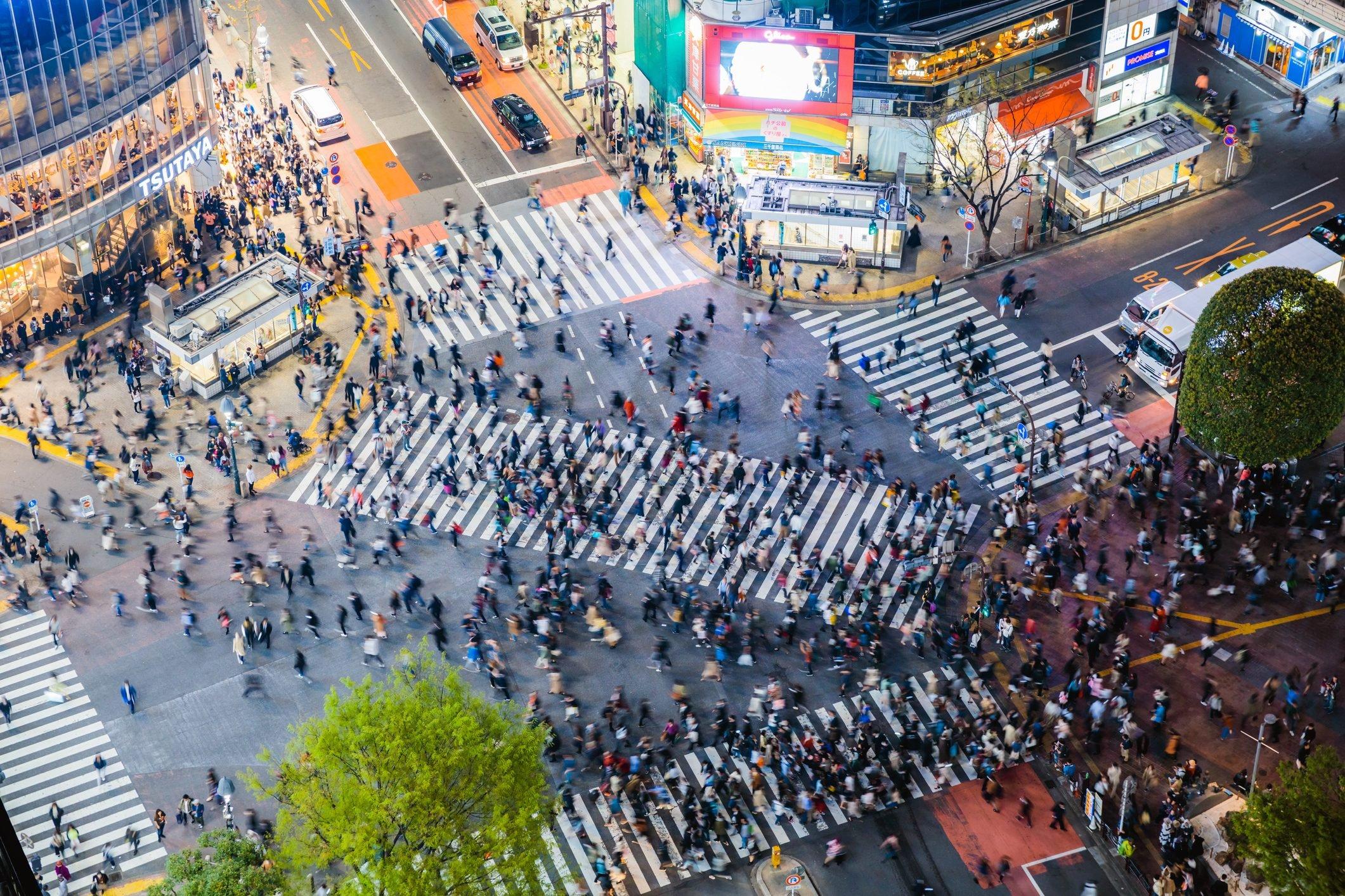 Famous Shibuya pedestrian crossing, Tokyo, Japan