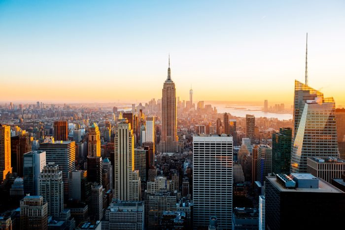 New York cityscape seen from helicopter aerial view, New York State, US