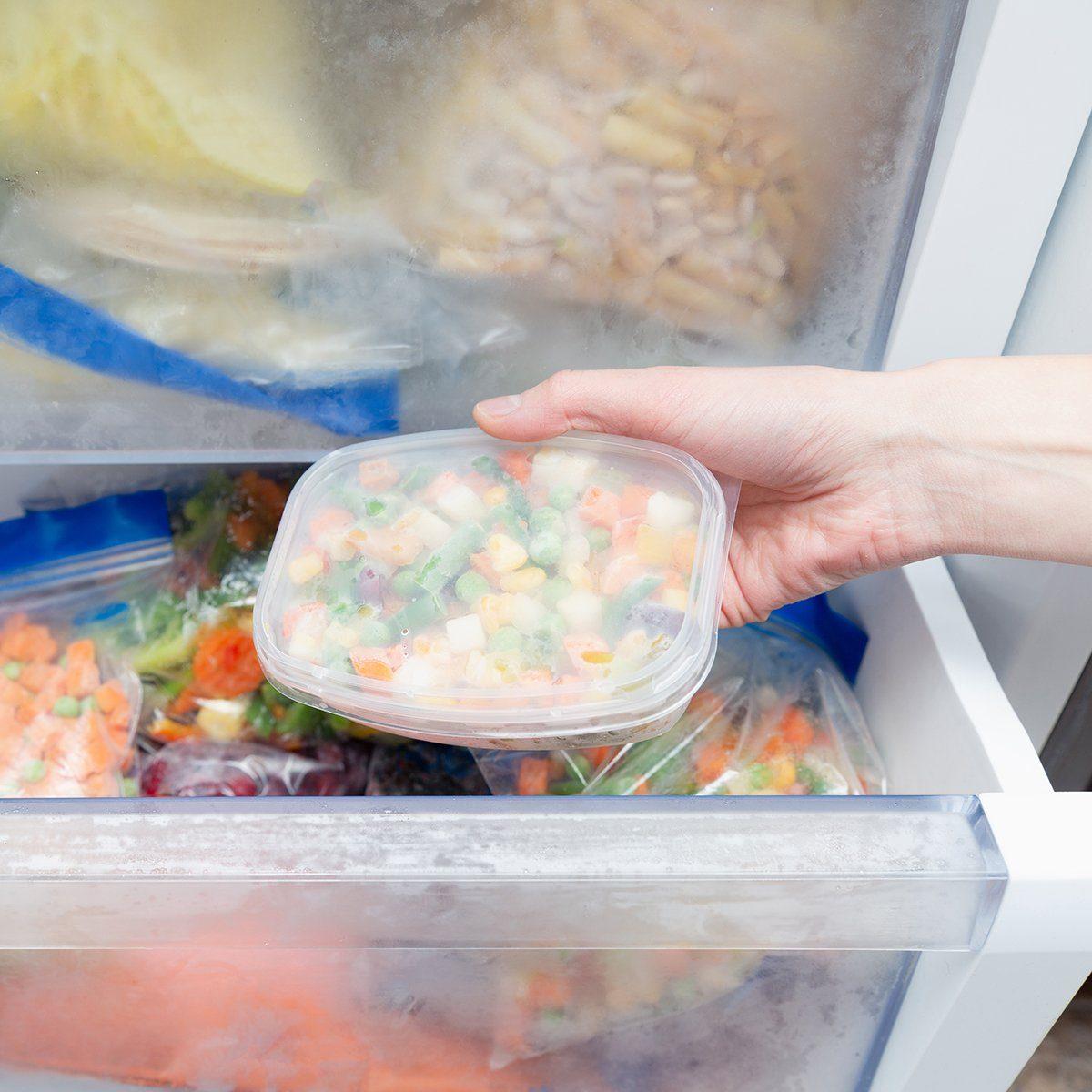 Frozen vegetables in a plastic bag. Healthy food storage concept.