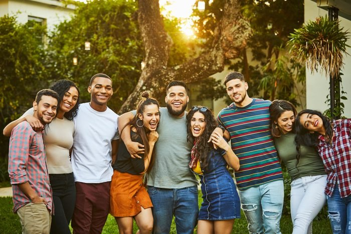 Portrait of multi-ethnic happy friends in party