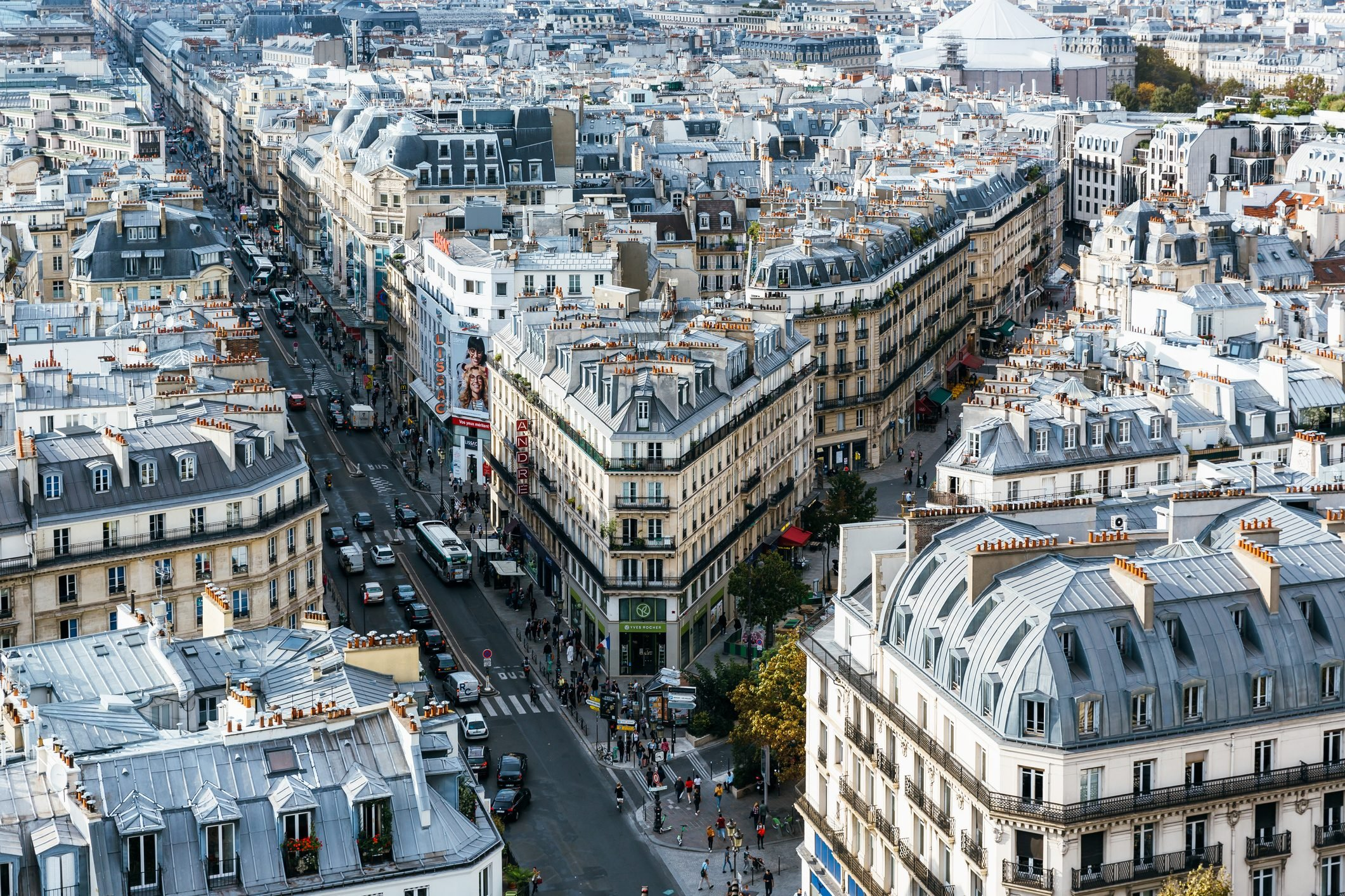 Aerial view of Paris city with streets and rooftops, Paris, France