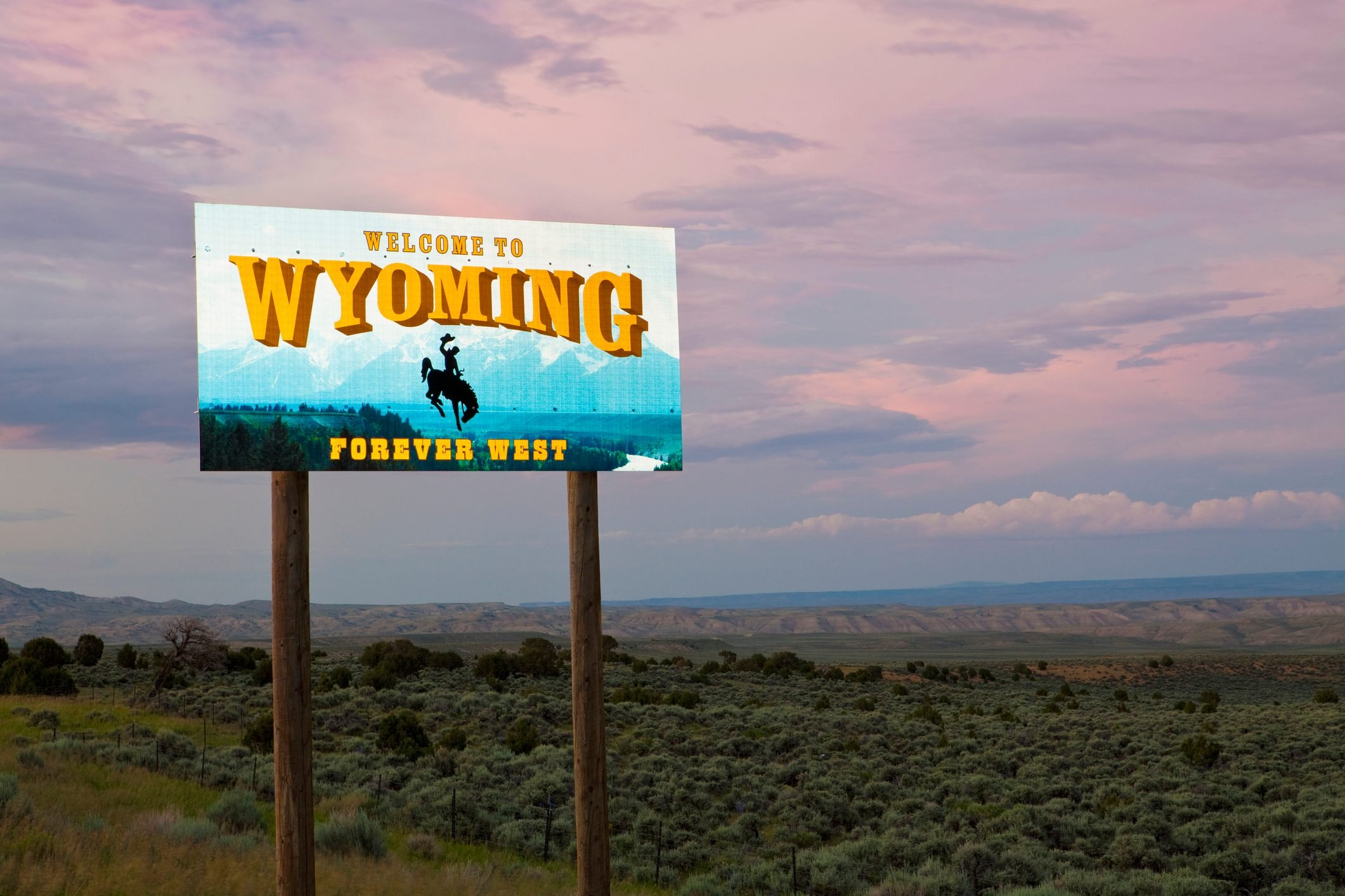 Cowboy on bucking bronco on Welcome to Wyoming sign, Wyoming, United States
