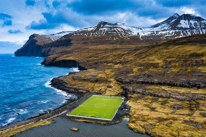 Soccer field, Eidi, Eysturoy island, Faroe Islands