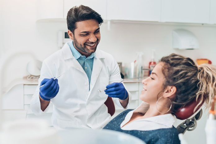 Young woman during a dental check-up