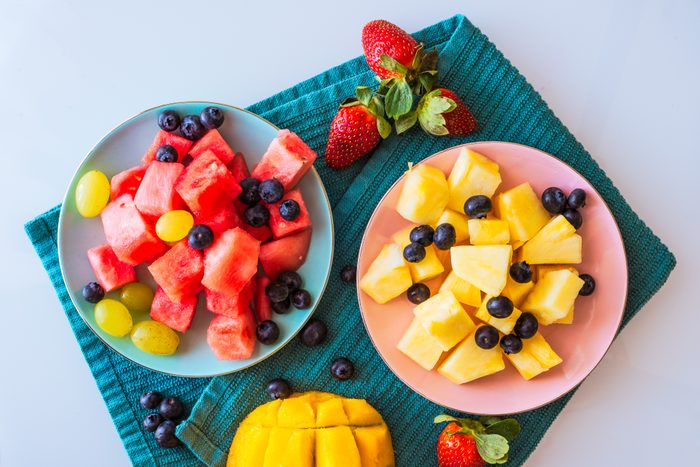 High Angle View Of Fruits On Plate