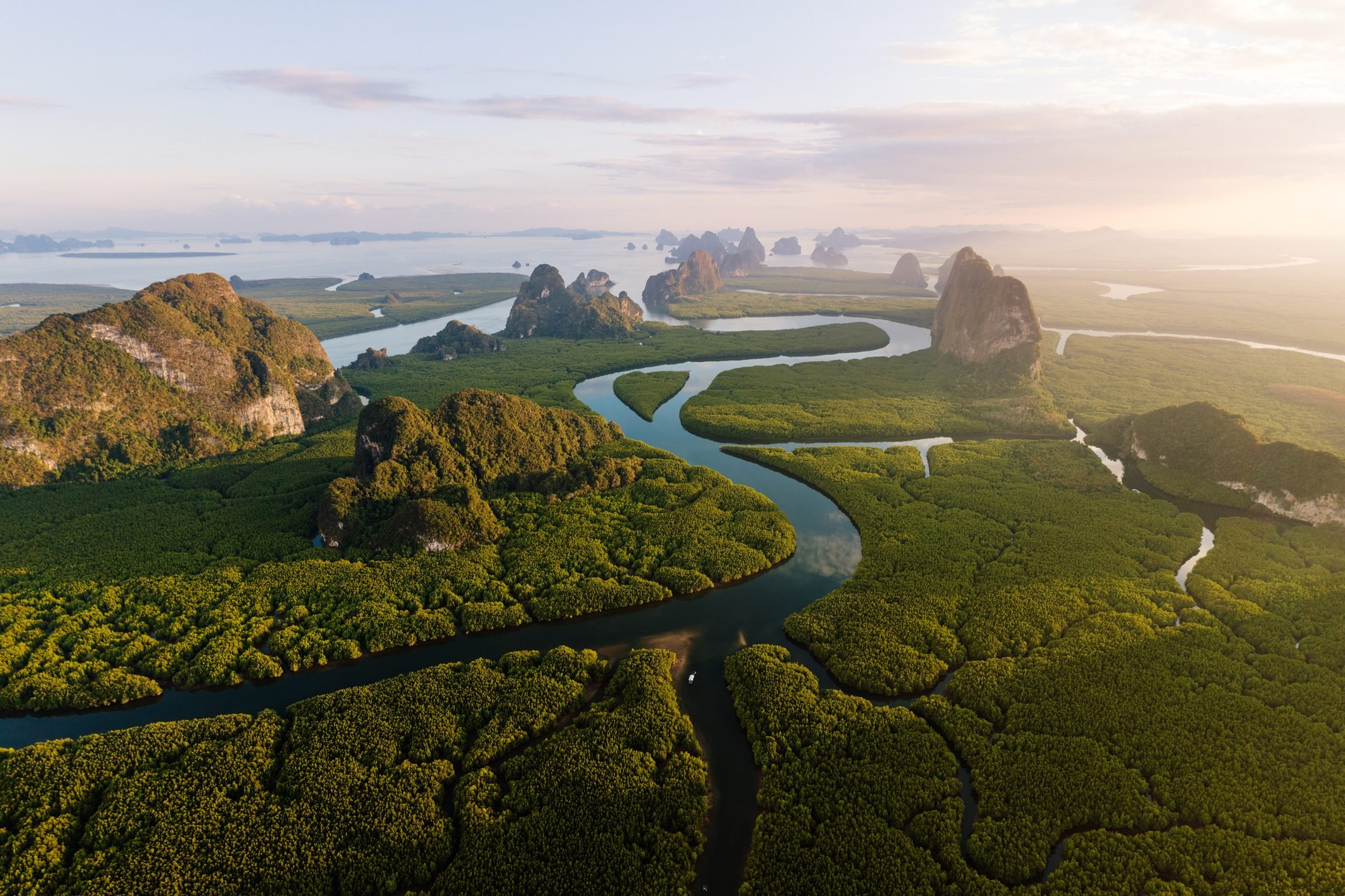 Aerial view of river and karst peaks, Phang Nga bay, Thailand