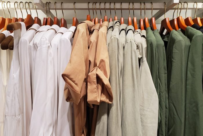 Neatly hung clothes on hangers