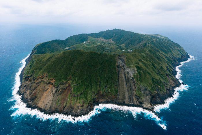 Aerial view of Aogashima Island, Tokyo, Japan