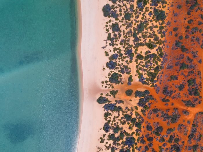 Shark Bay coastline shot from a drone point of view , Australia