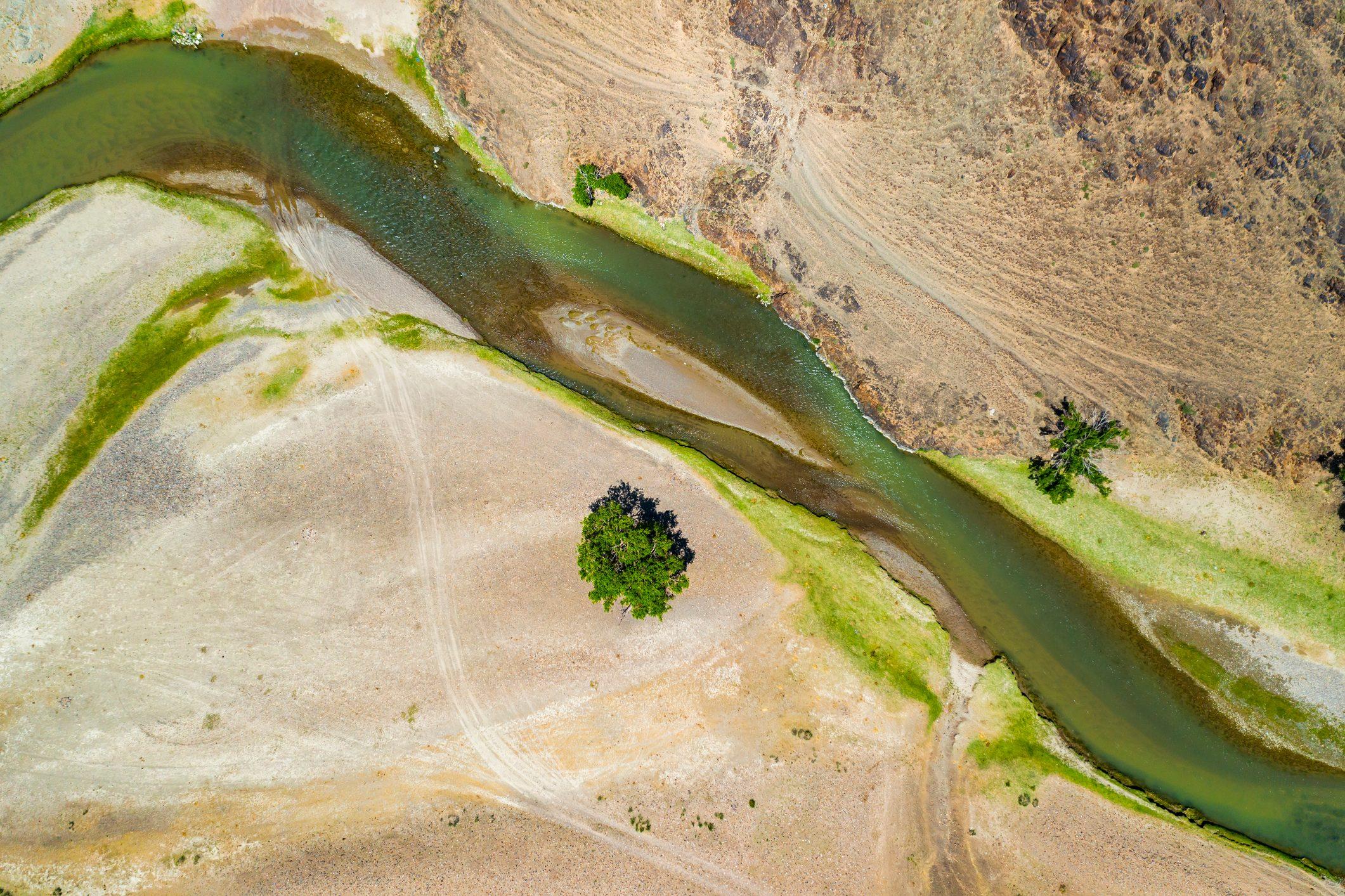 Aerial landscape view of river in Gobi desert, Mongolia