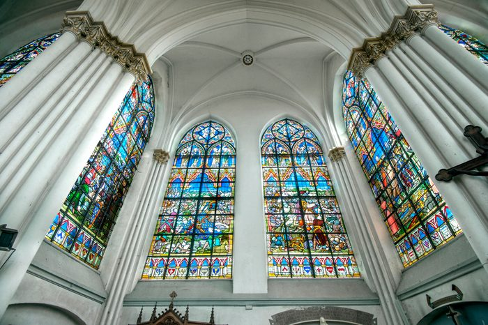 Stained-glass windows of the Church of Bouvines.