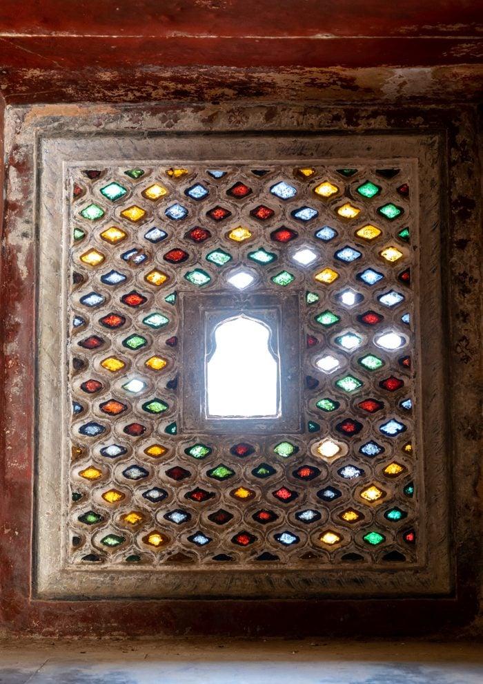 Multi coloured stained glass windows in Taragarh fort, Rajasthan, Bundi, India...