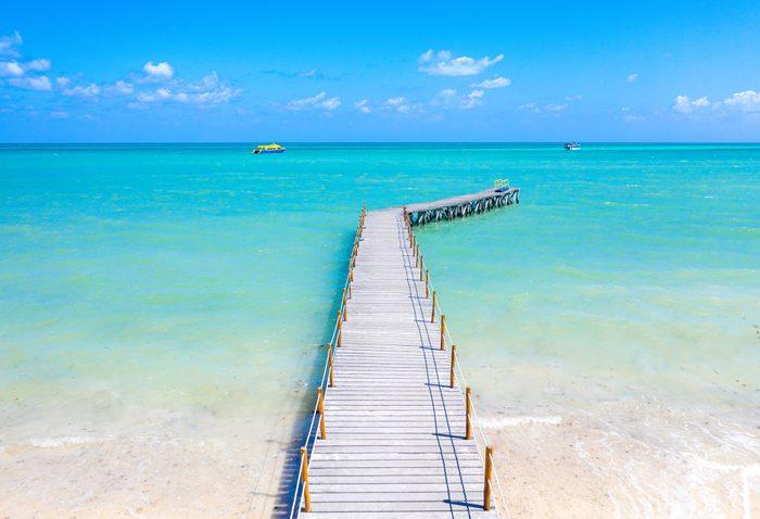 View of walking paths at South Beach, Miami, Florida at sunrise