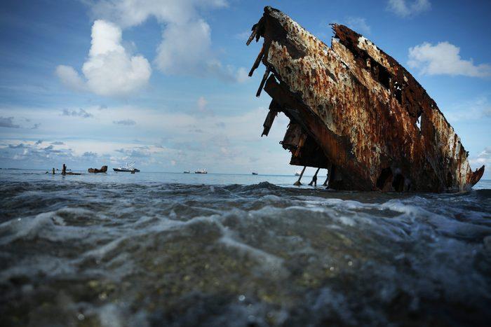 A shipwreck sits in the lagoon on November 28, 2019 in Funafuti, Tuvalu.