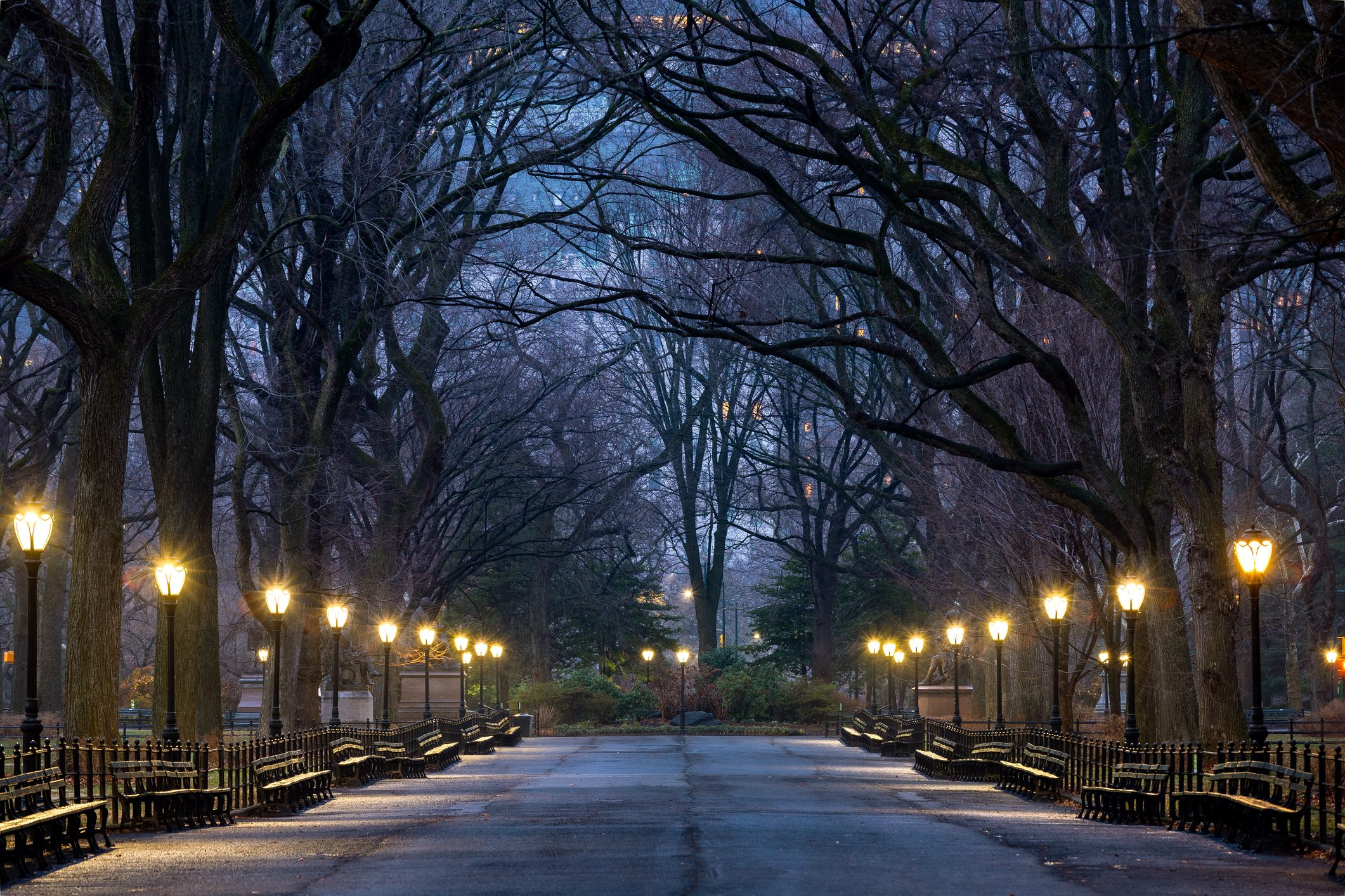 Blue Hour, The Mall, Central Park, New York City, New York, America