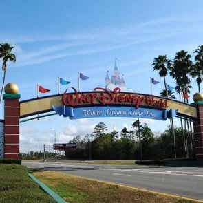 The entrance to Disney World is deserted on the first day of...